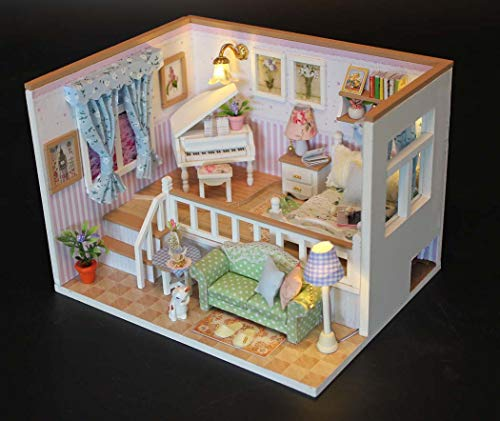 DUXX DIY Mini Dollhouse Holzmöbel-Kit, handgefertigte Cottage Creative Doll-Haus,Pink