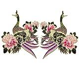 2x Namgiy Stickerei Golddraht Patch Abzeichen Patches Zum Aufbuegeln Jeans Kleid Applique Handwerk Nähen Zierleisten Kragen Fliegender Kranich DIY