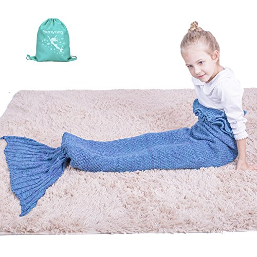 super warm and soft kids knitted mermaid blanket sleeping bag all seasons (lake blue)