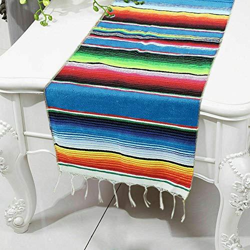 LNIMIKIY Tischläufer, rechteckig, waschbar, dekorativ, Quaste, Geburtstag, mexikanischer Stil, Baumwollmischung für Hochzeiten, buntes Bankett, handgefertigt, blau, Free Size
