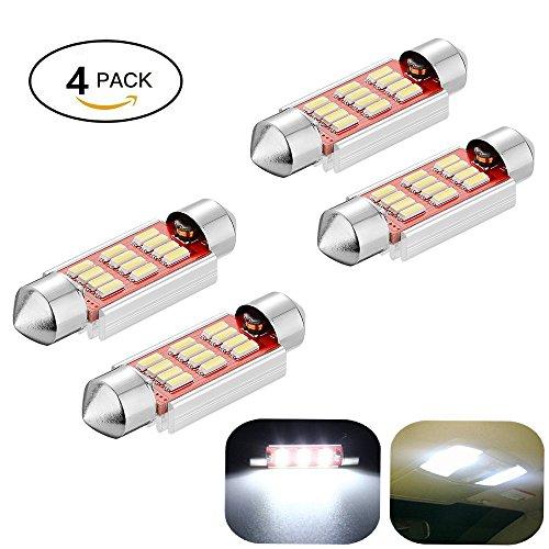 Preisvergleich Produktbild Haichen Pack von 4 Festoon LED weiß Auto Licht 36-41mm, Fehler frei LED Dome Festoon 4014 12-SMD, für Dome, Lesen, Kennzeichenbeleuchtung (39mm)