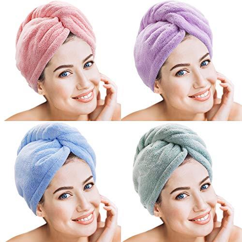 4 Stücke Mikrofaser Haar Handtuch Wrap Turbie Haar Handtuch Twist Head Wrap Haar Turban Kappe Schnell Trocknen Mikrofaser Kopf Handtuch für Frauen Mädchen (Mehrfarben C)