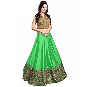 Muta Fashions Green Banglori Silk Women's Semi-Stitched Gown (Semi-Stitched Gown00144_02_Free Size)