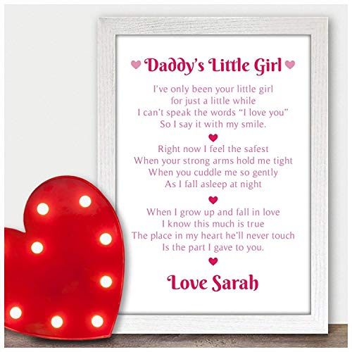 Beecreative Gifts Daddys Little Girl Personalised Poem Fathers Day