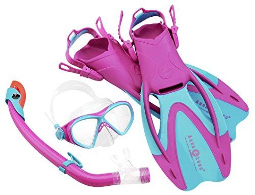 Aqua Lung Sport La Costa Junior Pro Dive Kinder 3er Set (Tauchmaske, Schnorchel & Flossen) inkl. Beutel - 32-35 pink
