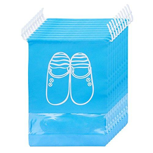 Zewoo 10 pcs scarpe borse per viaggiare, borsa scarpe da viaggio multiuso coulisse antipolvere sacchetti portascarpe organza per sacca da viaggio impermeabile con finestrella trasparente (cielo blu)