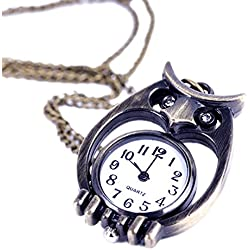EOZY Owl Shaped Retro Antique Analog Glass Dail Pocket Watch Quartz Clock Necklace Chain Pendant