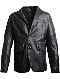 Lederblazer, Blazer, Sakko aus weichem Lammnapp Leder in schwarz
