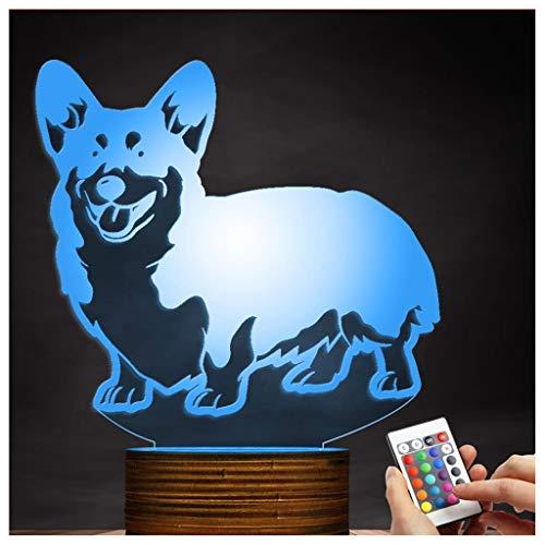 (Chengyd Optische Täuschung 3D LED Lampe Corgi Dog Nachtlicht, USB-Fernbedienung Fernbedienung ändert die Farbe des Lichts, Home Office Dekoration Spielzeug)