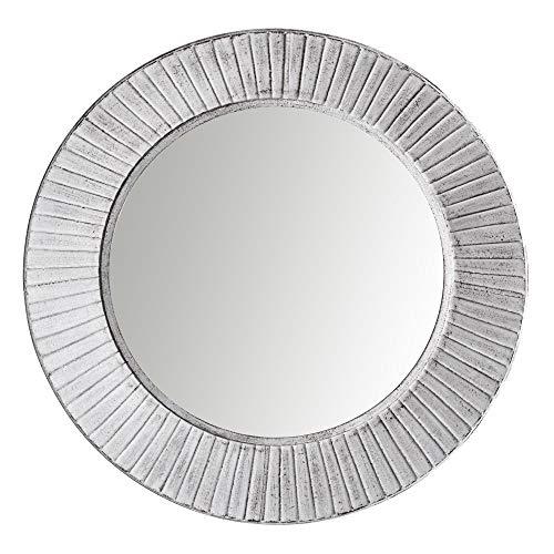Espejo Redondo Blanco de Metal Industrial, de ø 81 cm - LOLAhome