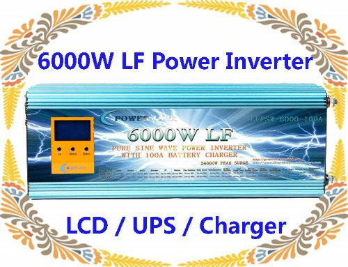 24000 Watt Peak 6000 Watt Low Frequency Pure Sine Wave Power Inverter 12 V DC/AC 220 V-240 V 50 Hz with 100 A Battery Charger LCD/UPS/Ladegerät ~ UK Lager ~ keine Tax to EU CUSTOMERS., [Import UK-] (Inverter 50hz Power)