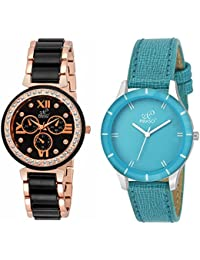 Piraso Studded Dial & Designer Strap Analog Watch For Women/Girls PS-06 Combo Pack Of 2