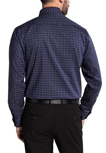Eterna Long Sleeve Shirt Comfort Fit Twill Checked blu marino/bianco