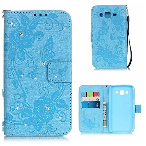 Price comparison product image Galaxy J5 2015 Case, KKEIKO® Galaxy J5 2015 Wallet Case [with Free Screen Protector], Premium Flip Leather Case and Cover with Bling Rhinestone, Shockproof Bumper Cover Case for Samsung Galaxy J5 2015 (Blue)