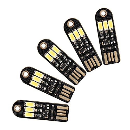5pcs Weiß Mini USB Power Noten-Schalter Nachtlicht 3 LEDs 5V 150mA Pocket Card Nachtlicht mit USB-Schnittstelle Energiespar Keychain Zubehör für Home Decoration Camping-Geschenk für Kinder (Pocket Note Card)