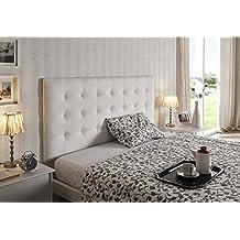 cabecero cama gran capiton de alta gama tapizado en micropiel color blanco x todas