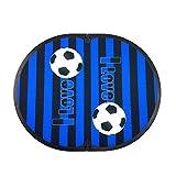FitFeet Soccer Mania - Tappetino poggiapiedi spogliatoio fuori doccia - a tema Club Sportivo (Nero Azzurro)