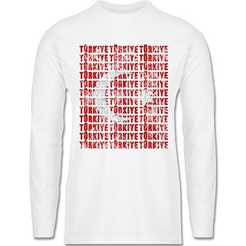 EM 2016 - Frankreich - Türkiye Vintage Typo - Longsleeve / langärmeliges T-Shirt für Herren Weiß