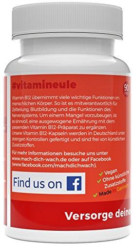 Vitamin B12 Kapseln - Ohne künstliche Zusatzstoffe - vegan - Qualität aus Deutschland - 100% Zufriedenheitsgarantie - 1000µg hochwertiges Methylcobalamin - deutsche Laboranalytik - Vitamineule® - 2
