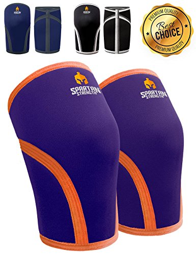 Knie Ärmel spartanisch, Stärke (Paar) * Unterstützung & Kompression für Gewichtheben, Powerlifting & Kniebeugen * Heavy Duty 7 mm Neopren (MS - Knee Measurement 32.5 - 35cm, Dark Orchid)
