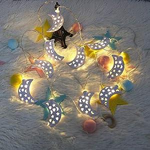 1.2M 10er LED Mond Lichterketten batteriebetrieben, Dapei DIY Mond aus Eisen Warmweiß Außen und Innen Lichterkette für Weihnachten, Hochzeit, Party als Stimmungslicht