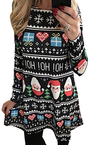 SWEETFISH Damen Weihnachtsgeschenk Candy Kittel Weihnachten Ausgestellt Franki Santa Damen Lebkuchen Rentier Rudolph Mini Swing Kleid (EU XLarge(40), (Kleid Frauen Weihnachten)
