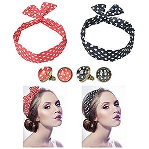 2Pcs Polka Dot Haarband + 2 Paar Polka Dot Ohrstecker Ohrringe Ø 10mm Rockabilly Ohrringe für Damen [ Rot – Schwarz ], Haarschmuck | Haarbänder | Haarreifen, Rockabilly Accessoires