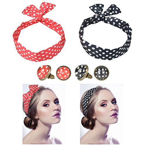 2Pcs Polka Dot Haarband + 2 Paar Polka Dot Ohrstecker Ohrringe Ø 10mm Rockabilly Ohrringe für Damen [ Rot - Schwarz ], Haarschmuck | Haarbänder | Haarreifen, Rockabilly Accessoires