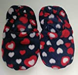 Wärmende Hausschuhe Kirschkernkissen Fußwärmer fußmassagebrause dunkelblau mit Herzen–Hergestellt in Emilia Romagna