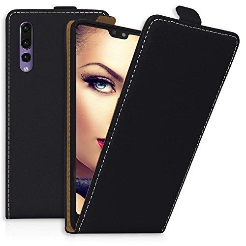 mtb more energy® Flip-Case Tasche für Huawei P20 Pro (6.1'') - schwarz - Kunstleder - Klapp-Cover Hülle Case (Charlotte Kunstleder)