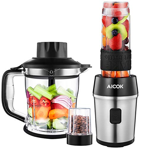 Aicok Mixer Smoothie Maker, 3 in 1 Multifunktion Mixer + Zerkleinerer + Kaffeemühle, 600ml tragbar Flasche BPA frei Tritan, (700 W, 24000U/Min)