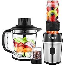 Aicok Batidora de Vaso 700W, 3 en 1 Batidora para Smoothie , Picador electrica para Carne Frutas y Vegetales, Taza de Molienda de 200 ml, Taza de 1200 ml, ...
