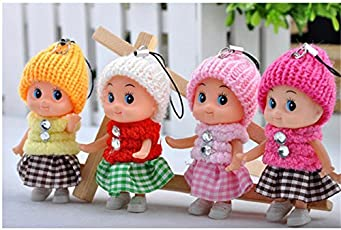 Webby Cute Mini Soft Toy Doll Keychain for Kids Pack of 4