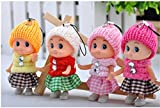 #6: Webby Cute Mini Soft Toy Doll Keychain for Kids Pack of 4