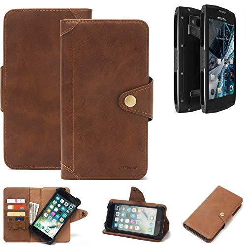 K-S-Trade Handy Hülle für Archos Sense 50 X Schutzhülle Walletcase Bookstyle Tasche Handyhülle Schutz Case Handytasche Wallet Flipcase Cover PU Braun (1x)