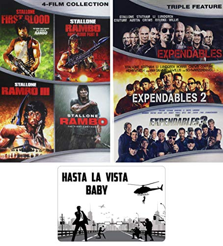 Sylvester Stallone Rambo and Expendables Complete Movies Series DVD 7 Film Collection with Bonus Art Card
