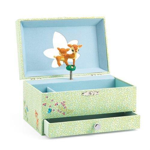Djeco Spieldose Bambi Reh Mit Spieluhr The Fawn Song Schmuckkästchen Grün