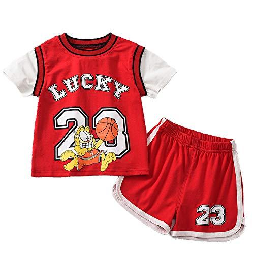 CHUANG Herren New York Sport Baby Kinder Set - Lakers James # 23 / Jungen Und Mädchen Freizeit Sweatshirts Baby Baby Kinder Weste Shorts Jersey Basketball Fans (Rot)