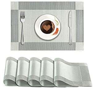 Hokipo PVC Dining Table Kitchen Placemats (45 X 30 cm, Silver) - 6 Pieces