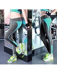 Tongshi Las mujeres de cintura alta deportes pantalones Legging entrenamiento deporte Fitness correr Legging (Verde, L)
