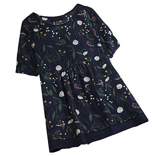 TWIFER Damen Gedrückt Sommer T Shirt Kurzarm Lace Folded Shirts Pullover Tops
