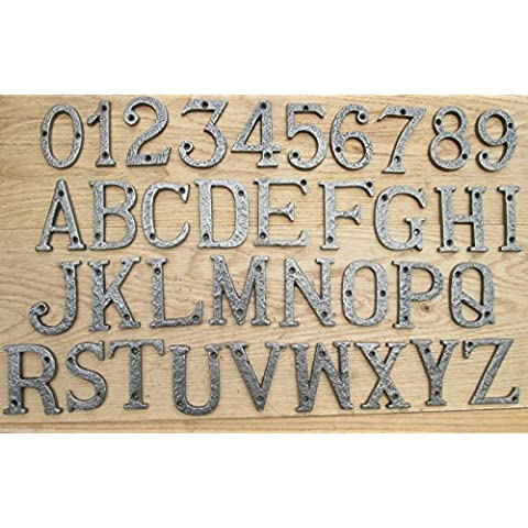 IRONMONGERY WORLD-® (3 7,62 CM, 75 MM, IN STILE ANTICO, FERRO BATTUTO HOUSE DOOR AI NUMERI E LETTERE DELL