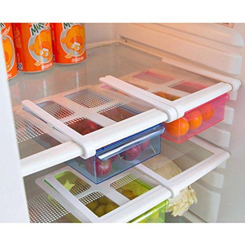 Kühlschrank Aufbewahrungsbox Upxiang Kühlschrank Gefrierschrank Organizer Lagerregal Regal Schublade Küche Belüftung und Entwässerung von Wasser Kühlschrank Lagerung (Blau)