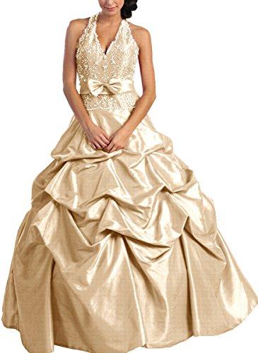 NL584 Sissi-Ballkleid Barockkleid Festkleid Abendkleid lang, Champagner, Gr. 38 (Seiden-chiffon-kleid Geraffte)