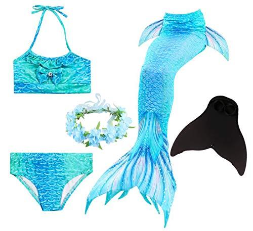 Brinny Mädchen Meerjungfrauenschwanz Bikini 5pcs Set Meerjungfrau Flosse Zum Schwimmen Badeanzüg Tankini Kostüm Kinder Schwanzflosse - 8-10 - Quick Kind Kostüm