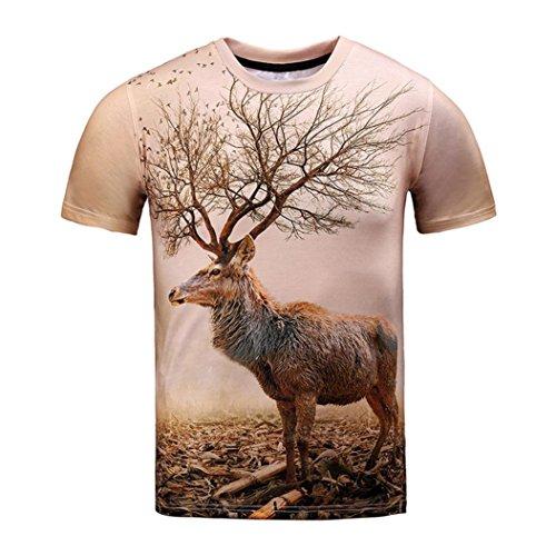 ❤️Amlaiworld 3D Imprimé cerf Hauts T-Shirts de Chat à Manches Courtes d'été Tee Blouse (L, Brown)