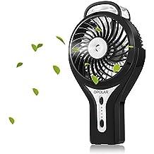 OPOLAR portátil ventilador de la bruma con la mejora de LG batería, mini ventilador del USB, construido en el año 2200 mAh de la batería recargable, 3 velocidades, ventilador portátil personal, ventilador exterior, escritorio Fan-Negro