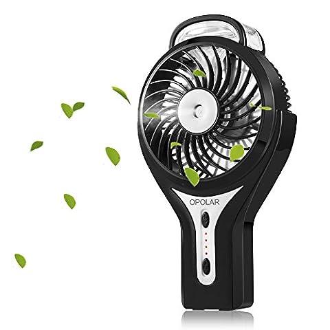 OPOLAR F301 Handheld Misting Fan, Mini USB fan, Personal Portable Fan, Outdoor Fan, Desktop Fan-Black