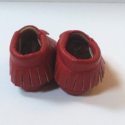 Bébé moccasins souple, Unisex (Taille 1, Or) Rouge