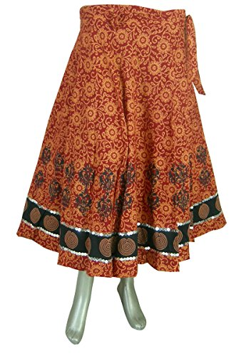 Indien Kleidung Designer Wickelrock Orange